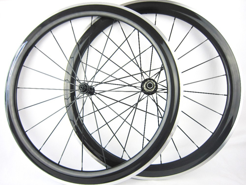 60mm roue velo route aluminum carbon fiber clincher wheelset with powerway R13 hubs