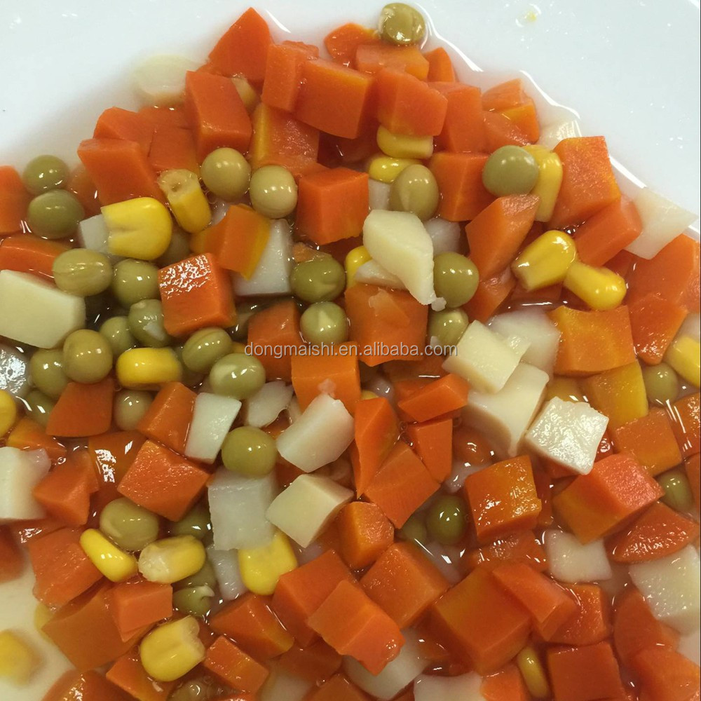 Salty Green peas, carrots, corn kernels, potato mixed vegetable can