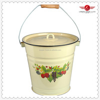 Hot Selling Different Size Cast Iron Enamel Bucket With Enamel Cover