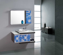 New wall mounted wash basin and stainless steel cabinet with mirror