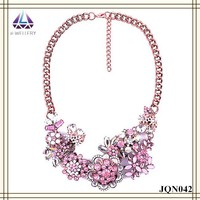 Flower Design Pink Acrylic Glam Bead Necklace For Women,Fake Gold Chain Necklace