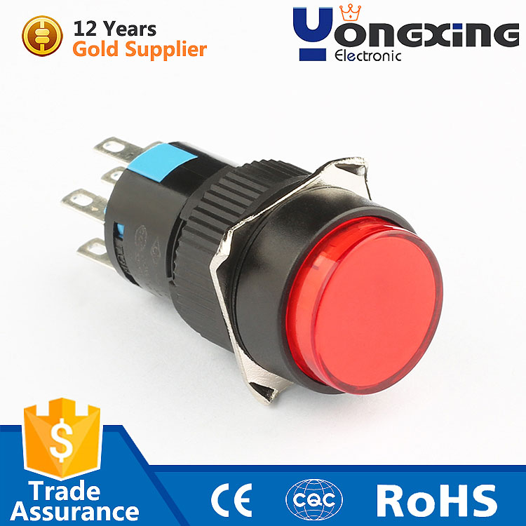 AD16 Plastic Round Single Pole 12 volt Momentary Led push Button Switch