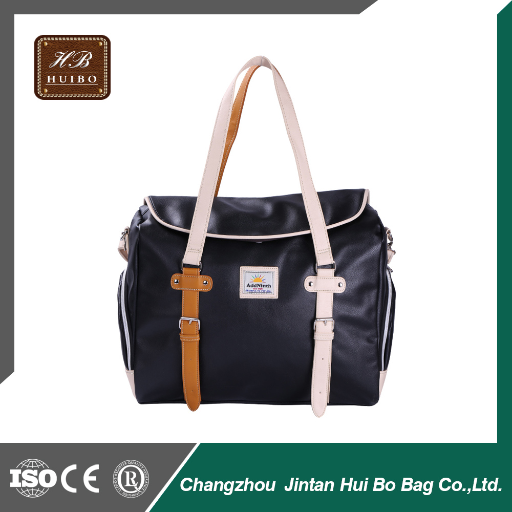 Stylish PU leather shoulder bag large tote bag for women and men