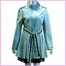 New design collared trench coat / frilled double-breasted lace overcoat