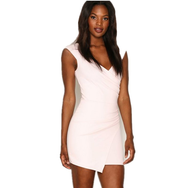 White simple short summer casual V neckline party wear dresses for ladies