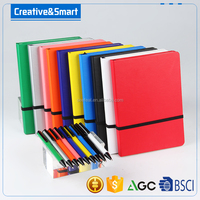 High quality low MOQ fancy hard cover notebook with pen set OEM colour