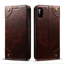 PU Leather Vintage Wallet Folding Flip Case for iPhone X Kickstand and Multiple Card Slots Magnetic Closure CA5820