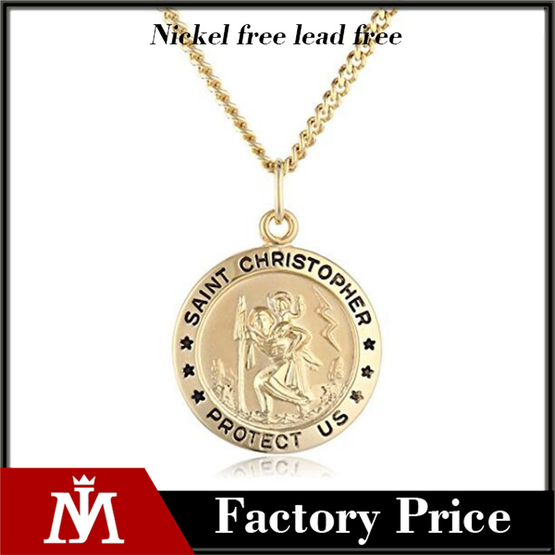 Men's Sterling Silver Saint Christopher Round Medal Pendant with Stainless Steel Chain