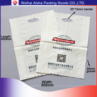 Shandong Convenient Die Cut Promotional Hand Length Handle Plastic PE Shopping Bag