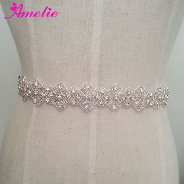 Handmade Rhinestone Beaded Belt For Wedding Dress