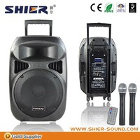 "15"" active public address wireless bluetooth 60W power pa system 12v/12Ah outdoor speaker"