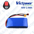 60V 2.9ah electric scooter battery lithium ion battery pack