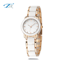 Appealing design copper case lady watch with rose gold watch strap Fashionable elegant ceramic resin watch