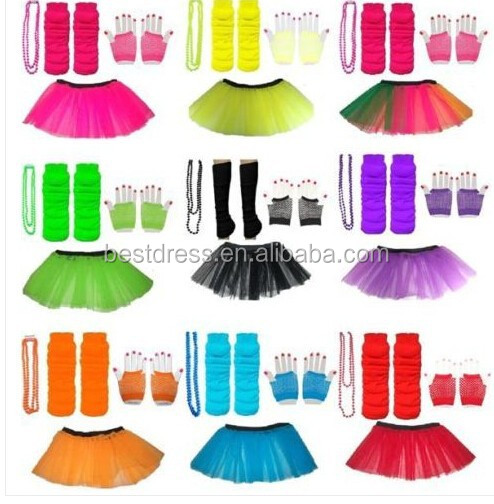 NEON TUTU SKIRT ADD SHORT GLOVES LEGWARMERS BEADS NECKLACE OUTFIT 80S COSTUME