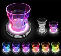 4 x LED Colour Drinks Changing Drink Glass Bottle Summer Party Light Up Coasters