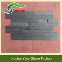 Popular Black Slate Stacked Wall Covering Stone House Interior Stone Wall Panels