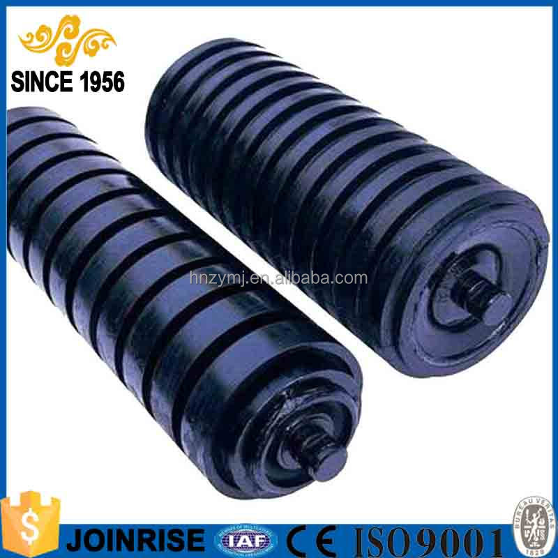 Long Life Low Friction Belting Conveyor Impact Rubber Coated Roller With Ring