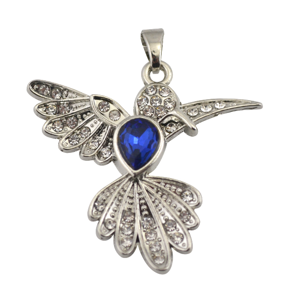 Latest Deisgn Silver Tone Blue Rhinestone and Clear Crystal Bird Shape <strong>Pendant</strong> For Necklace