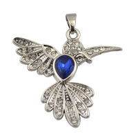 Latest Deisgn Silver Tone Blue Rinestone and Clear Crystal Bird Shape Pendant For Necklace