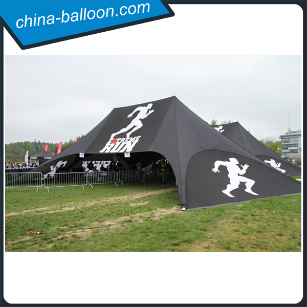 21m black color double poles large star tent with full sidewalls