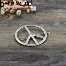 Fashion alloy peace symbol snap bobby pin in silver color