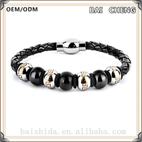 2016New fashion leather beaded stainless steel bracelet
