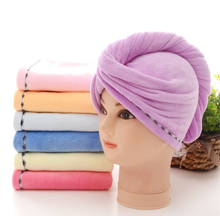 Shower spa head wrap hair drying cap turban microfiber terry dry hair towel