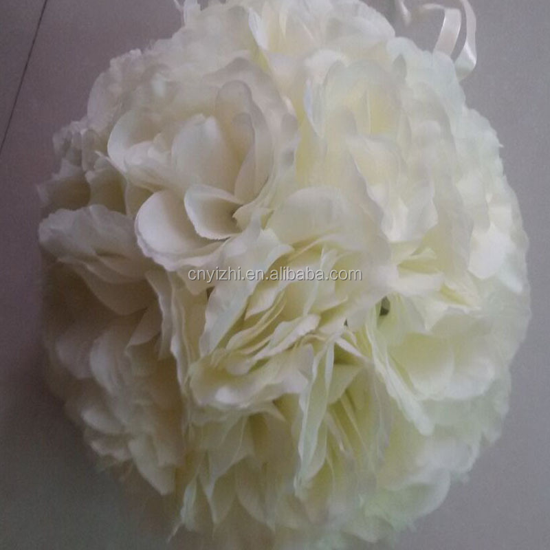 Wholesale white silk wedding rose balls Floor Type Hanging Decorative Artificial Flower rose Ball