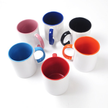 11OZ Ceramic Blank Sublimation Mug With Color Handle and Colour Inside