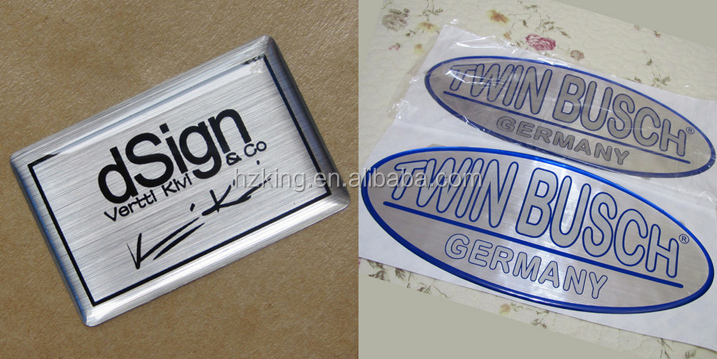 Brushed metallic silver epoxy sticker