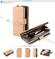 durable zipper metal leather wallet for i phone6 plus phone case