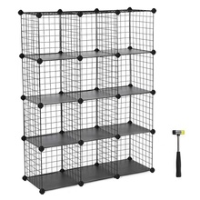 Metal Wire Storage Cube 3-tier 12-cube Closet Cabinet and Modular Shelving Grids Metal Mesh Wire Storage Rack