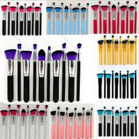 Free Shipping professional 10pcs set purple black blue custom logo makeup brushes with high quality