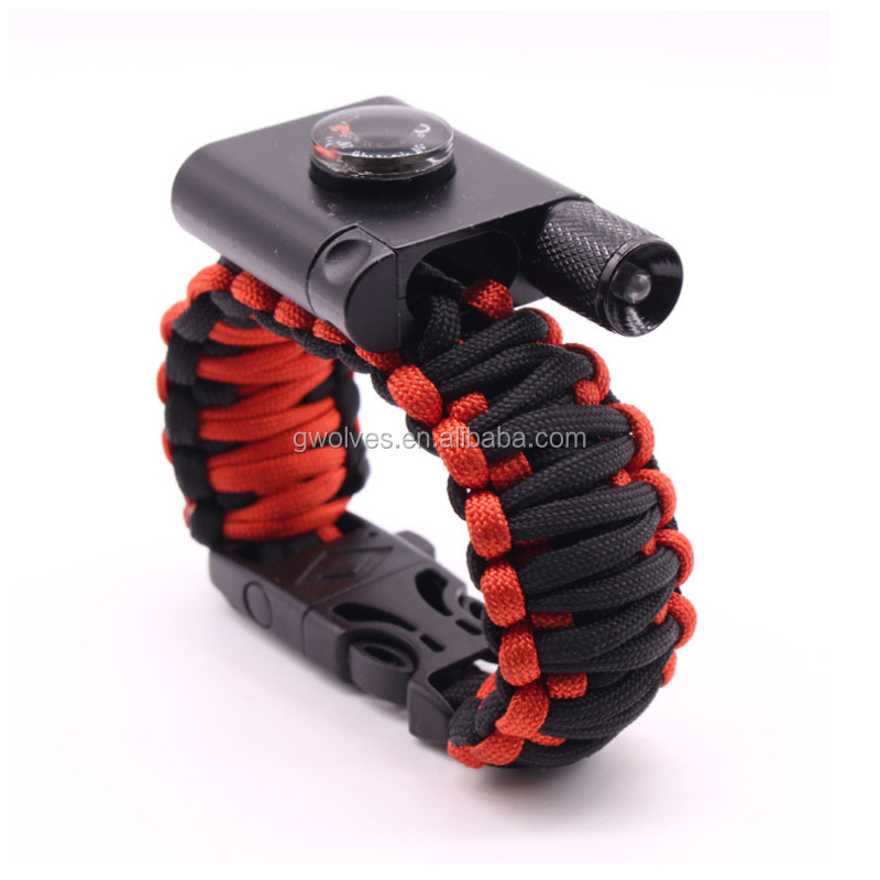 new outdoor products 550 paracord survival bracelet with led light and compass for camping and hiking