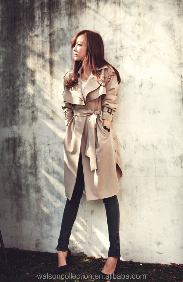2015 Winter Trench Coat Ladies Jacket Long Length Wind Coat With Belt