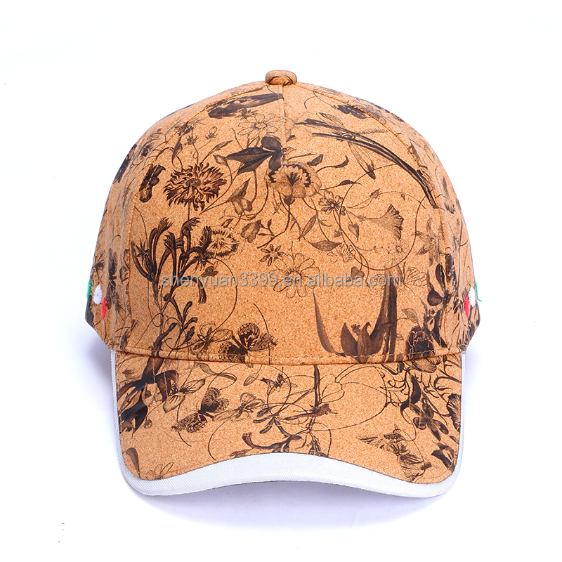 Custom waterproof water color paint cork paper baseball cap;Wholesale new style UV protection cork baseball hat for men