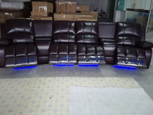 4 Seats Genuine Leather Home Theater Sofa Recliner LS601(4) With LED Light