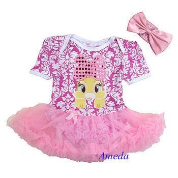 2014 Easter Pink Damask Brown Bunny Bling Bow Rabbit Bodysuit Pettiskirt and Headband NB-18M