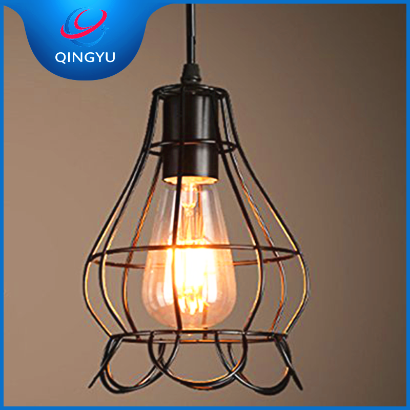 Oil Rubbed Metal Black Cage Shade Light Ceiling Cafe Pendant Lamp for Home Kitchen