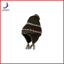 earflap ski beanie winter hat with braid