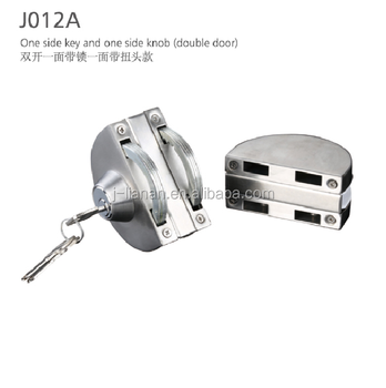 J012A Glass door lock one side key and one side knob (double door)