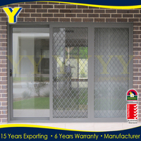 With double glass and safe stainless steel flynet Multi panel design aluminium sliding door