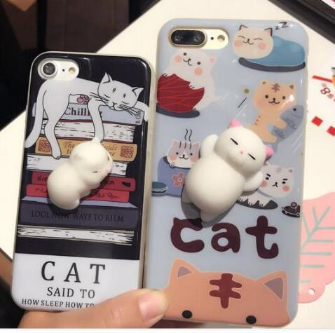 Wholesale 3D animal tpu phone case Soft Silicone Slow Rising Squishy cat toys Phone Case for iPhone 7 8