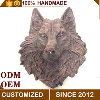 Western Vntage Snow Wolf Head Wall Decoration