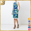 Superior wholesale ladies'fashion women print belt bodycon midi dress