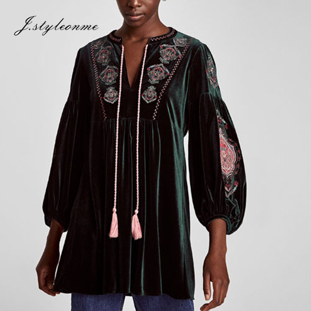 Fashion Cheap Price Spring Long Bubble Sleeve Velvet Embroidered Dress