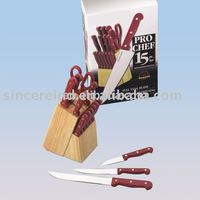 15pcs kitchen knife set w/wood block