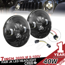 "7"" 40W JW Led Headlight H13 H4 for Jeep Wrangler for Harley davidson"
