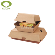 Disposable brown kraft paper hamburger packaging box
