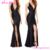 Evening Black Sequins V Neck Backless Fish Cut Dresses Ladies Gown